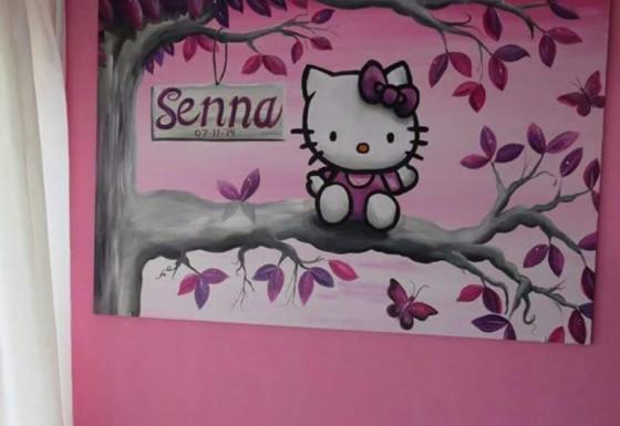 Hello Kitty op tak met naambordje.