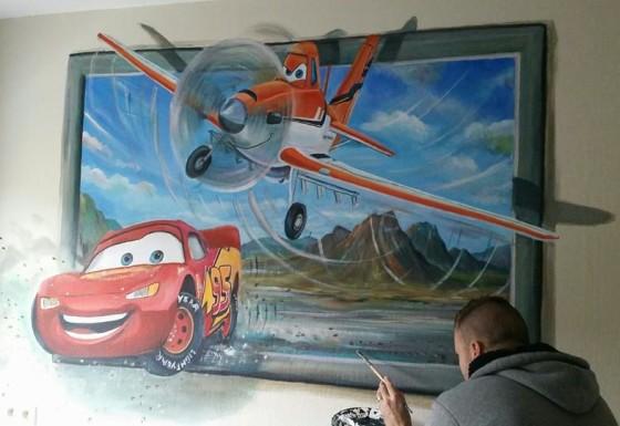 Planes/Cars 3d schilderij