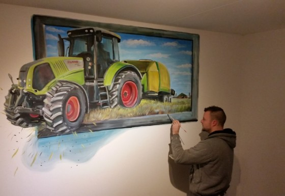 Claas traktor 3d schilderij