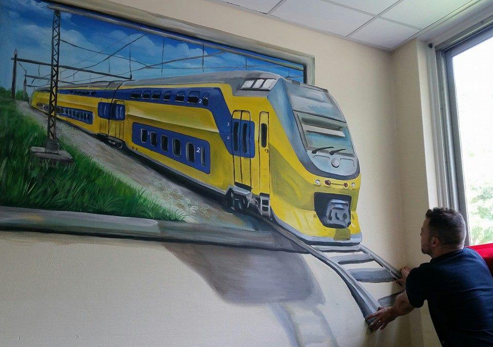 Intercity 3-d schilderij