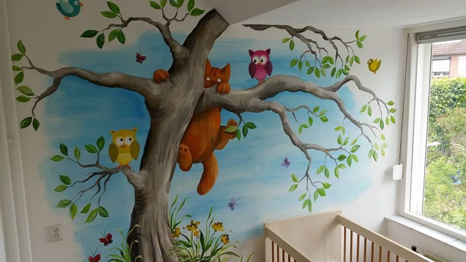 Muurschilderingen Voor Slaapkamer : Muurschilderingen met bomen takken met dieren u bertruesinkart