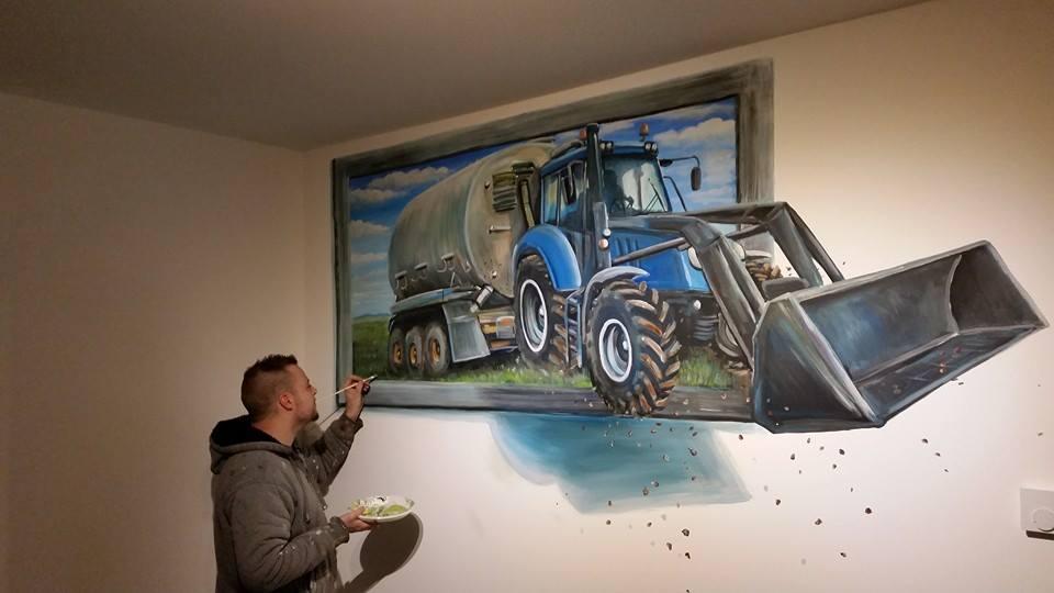 Tractor 3-d schilderij