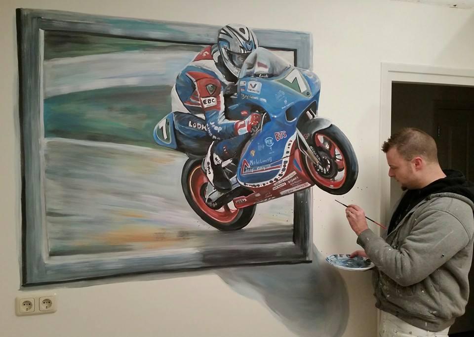 Racemotor 3d-muurschildering