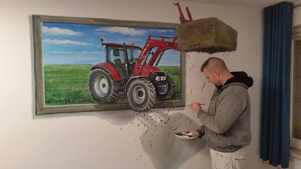 Case traktor 3d-Muurschildering