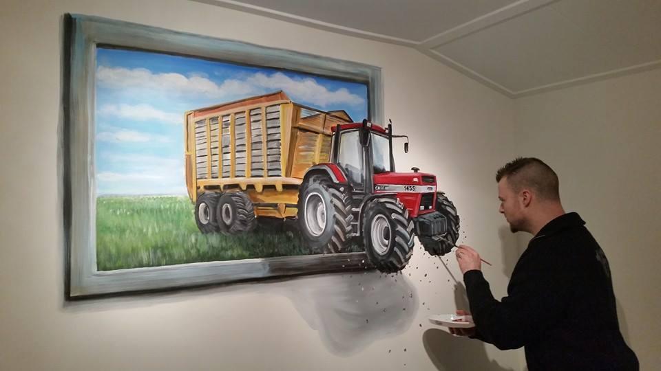 3d schilderij Case traktor