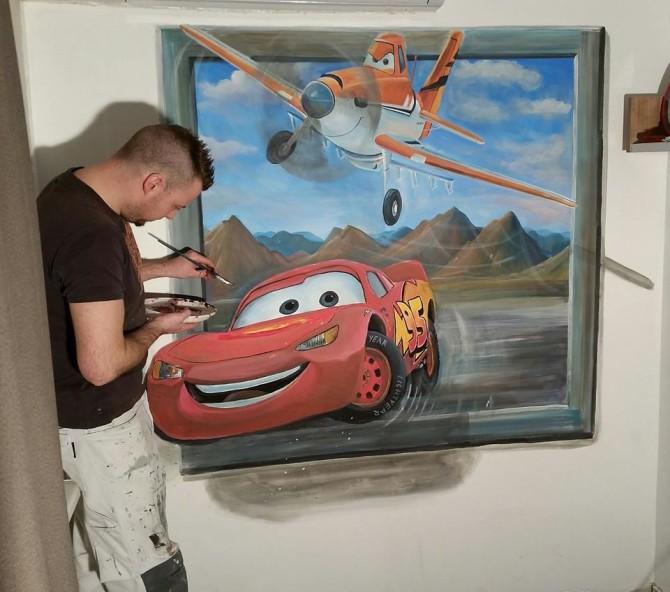 Cars/planes 3d-schilderij muurschildering
