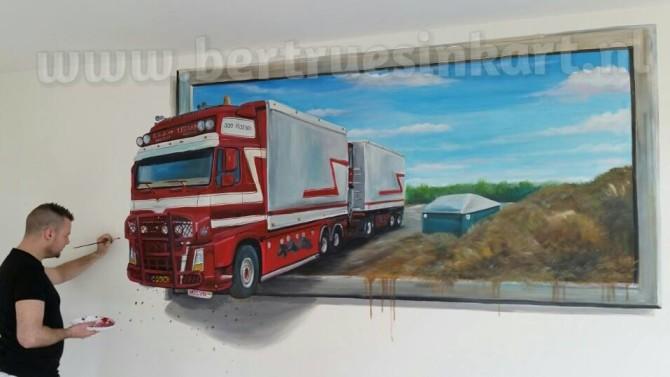 Muurschilderingen 3d schilderij bertruesinkart - Kleur schilderij ingang ...