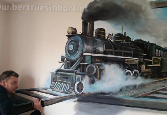 stoomtrein  3d schilderij