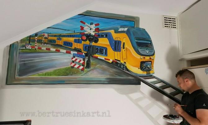Intercity 3d-schilderij met spoorwegovergang