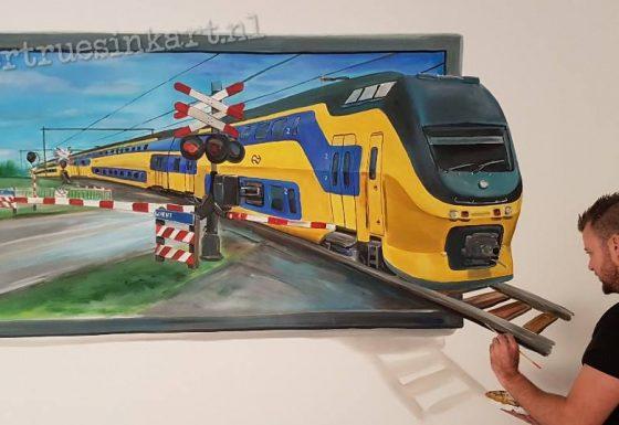 3d-trein schilderij met spoorbomen!