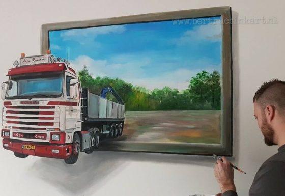 vrachtwagen op woonkamermuur 3d schilderij