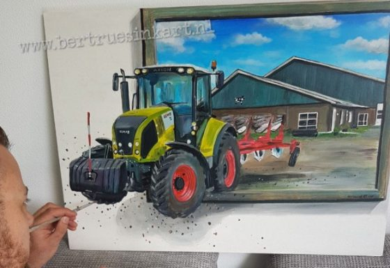 Klaas 3d schilderij met boerderij op achtergrond