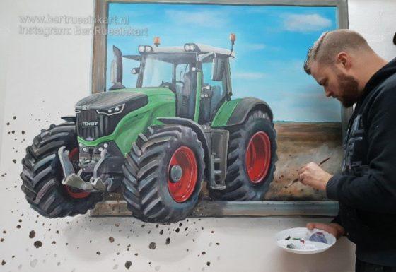 Fendt 3d-schilderij kado van Bouwbedrijf Gierkink (Vragender) voor loonbedrijf (Vragender)