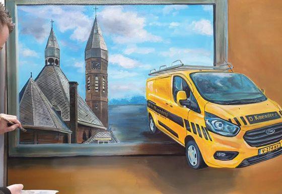 3d-schilderij aangeboden door het personeel voor het 40-jarig jubileum van D.Koenders Leidekkersbedrijf (Neede)