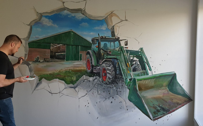 tractor en stal van papa